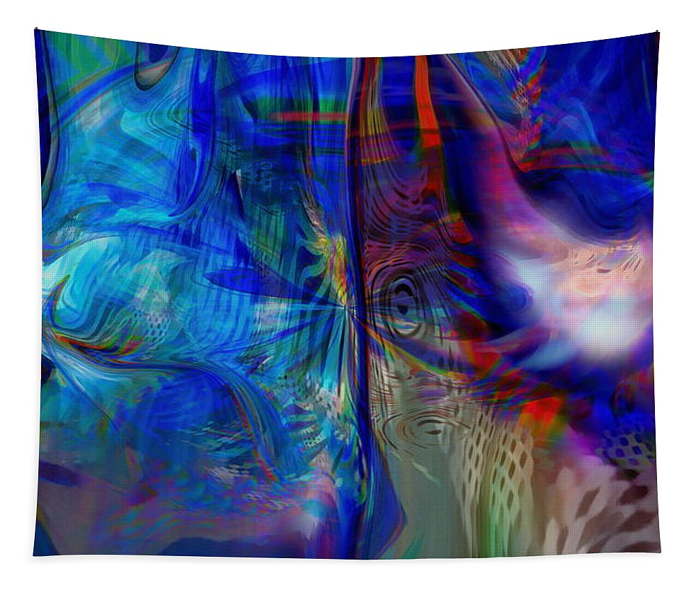 Abstract Tapestry featuring the digital art Limelight by Linda Sannuti