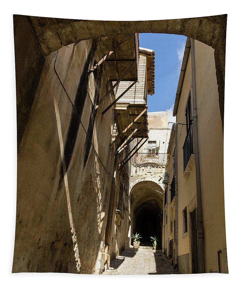 Georgia Mizuleva Tapestry featuring the photograph Limestone And Sharp Shadows - Old Town Noto Sicily Italy by Georgia Mizuleva