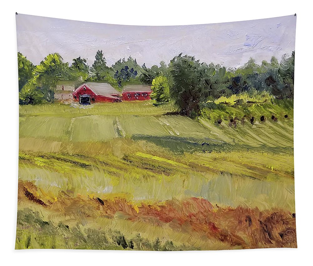Oil Tapestry featuring the painting Linden Row Farm by Susan Hanna