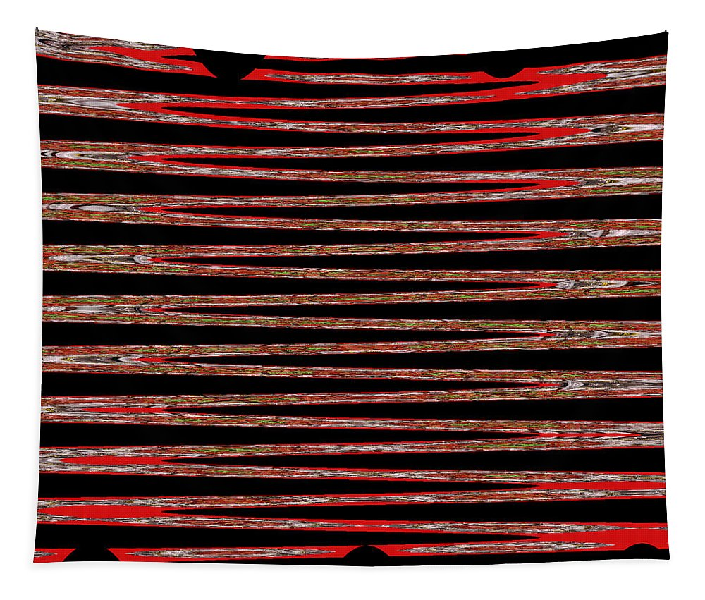Abstract Art Tapestry featuring the digital art Linear Lesson In Black And Red by Marian Bell