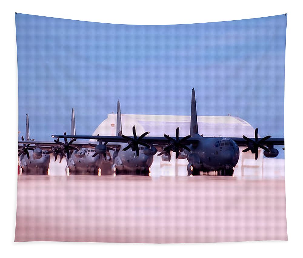 Mc-130 Tapestry featuring the photograph Lined Up And Ready by Mountain Dreams