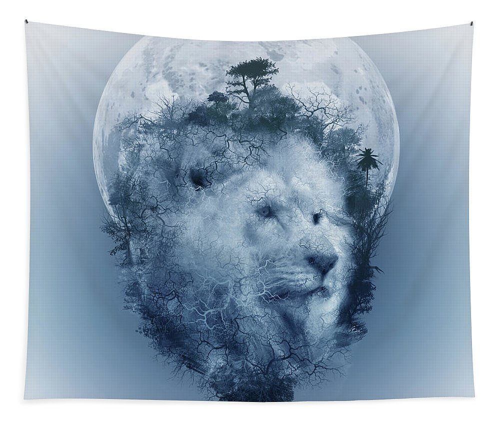 Lion Tapestry featuring the digital art Lion 2 by Bekim M