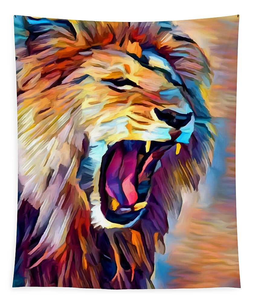 Lion Tapestry featuring the painting Lion 5 by Chris Butler