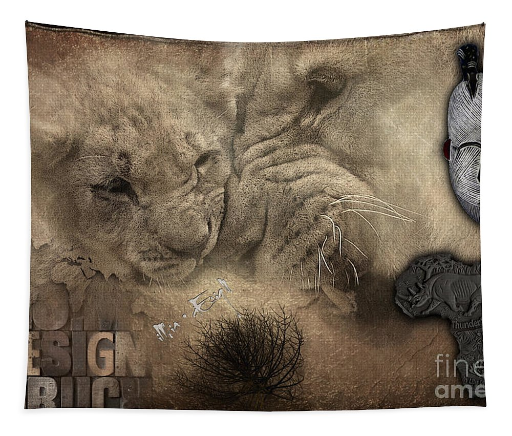 Imia Design Tapestry featuring the digital art Lion Love Big And Small by Maria Astedt