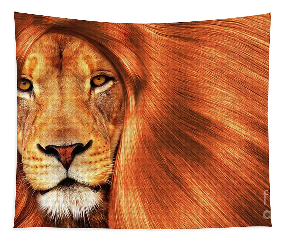 Nature Tapestry featuring the photograph Lion by Prar Kulasekara