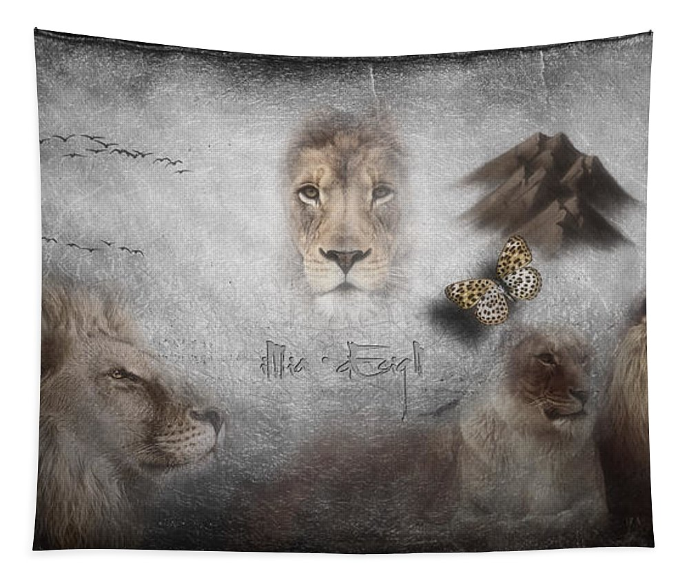 Imia Design Tapestry featuring the digital art Lions by Maria Astedt