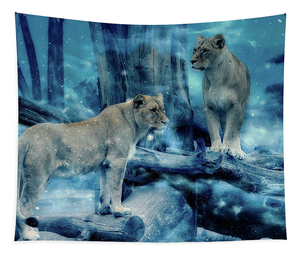 Lions Tapestry featuring the mixed media Lions Of The Mist by Pixabay