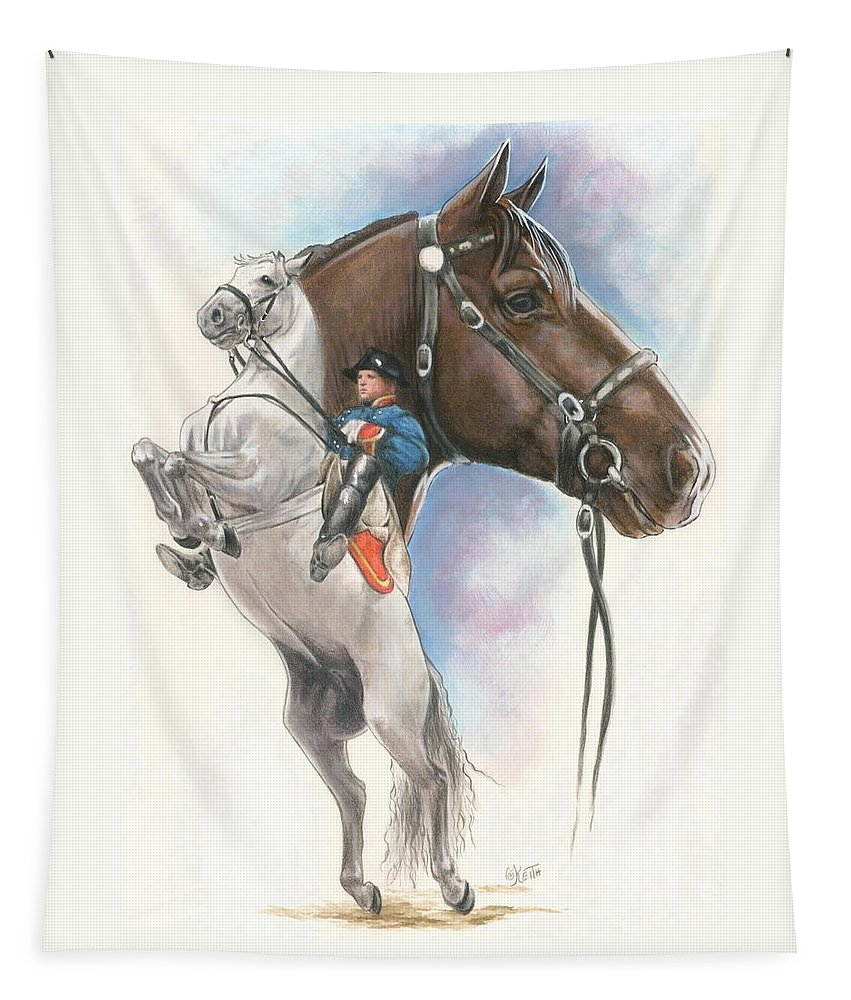 Spanish Riding School Tapestry featuring the mixed media Lippizaner by Barbara Keith