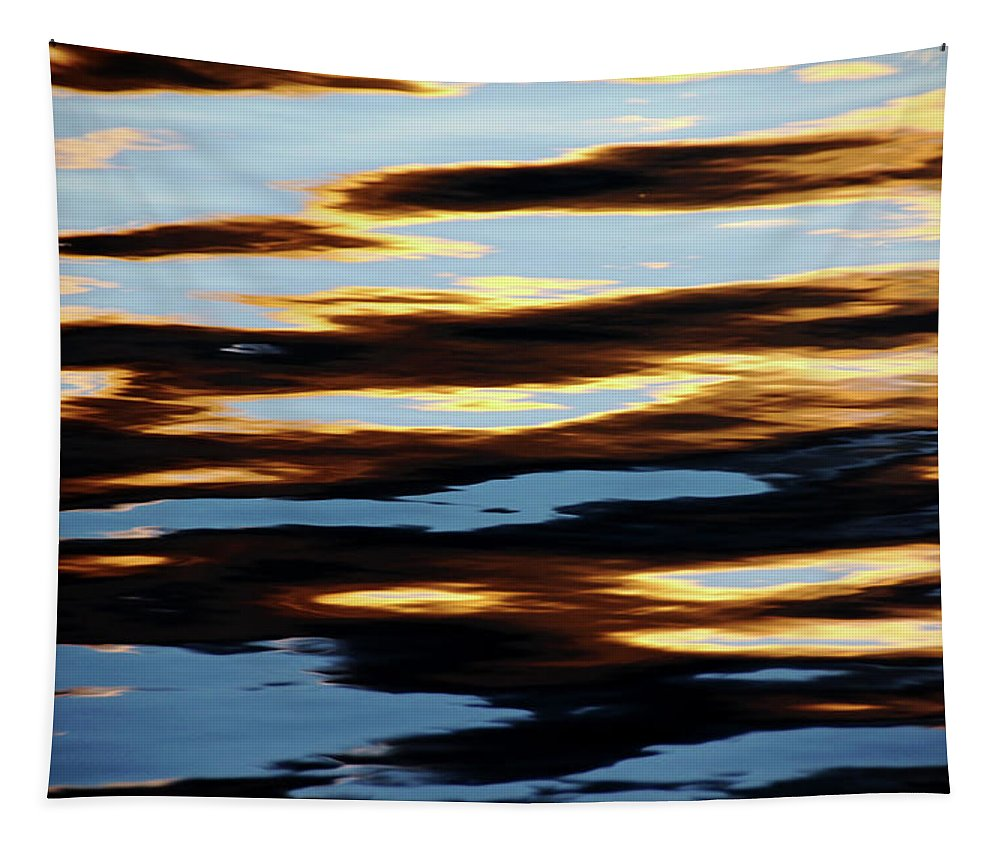 Abstract Tapestry featuring the photograph Liquid Setting Sun by Debbie Oppermann