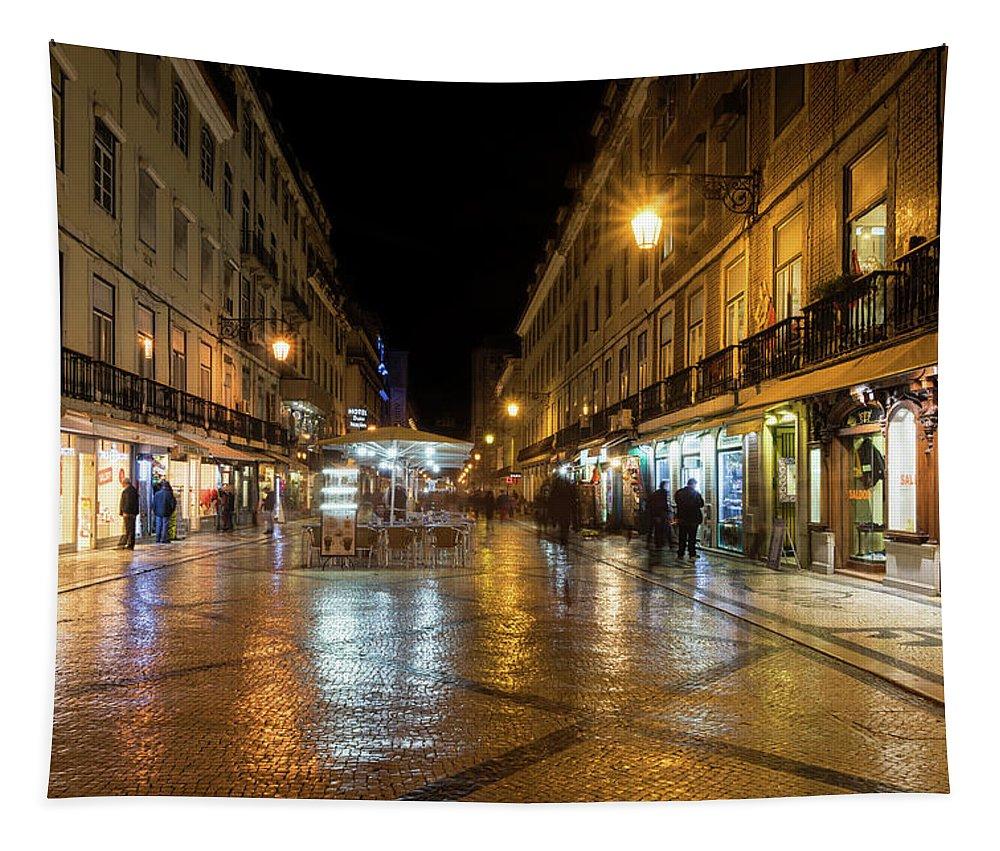 Georgia Mizuleva Tapestry featuring the photograph Lisbon Portugal Night Magic - Nighttime Shopping In Baixa Pombalina by Georgia Mizuleva