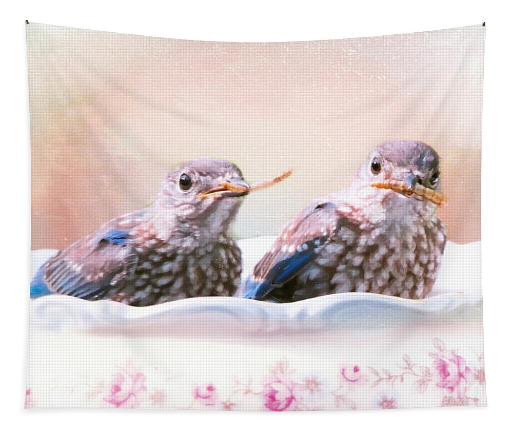 Bluebird Tapestry featuring the photograph Little Bambinos by Tina LeCour