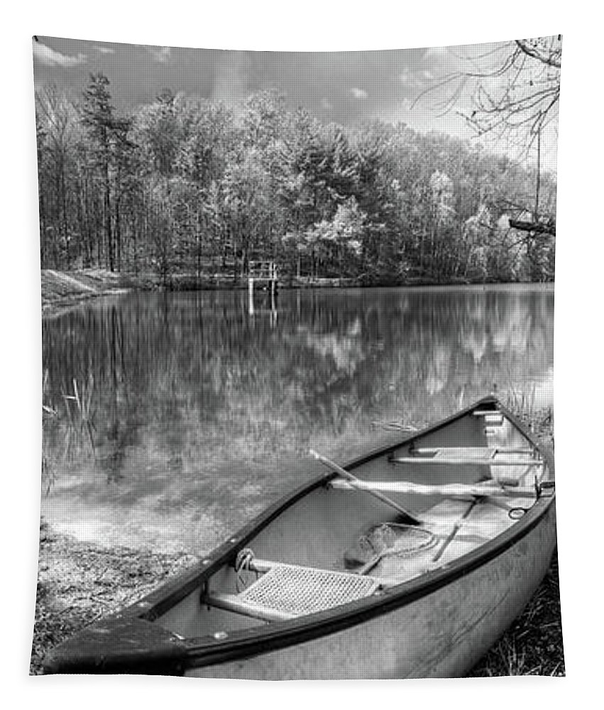 Appalachia Tapestry featuring the photograph Little Bit Of Heaven Black And White Panorama by Debra and Dave Vanderlaan