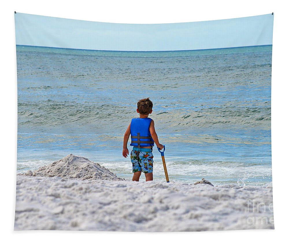 Sea Tapestry featuring the photograph Little Boy Big Dreams by Karen Adams