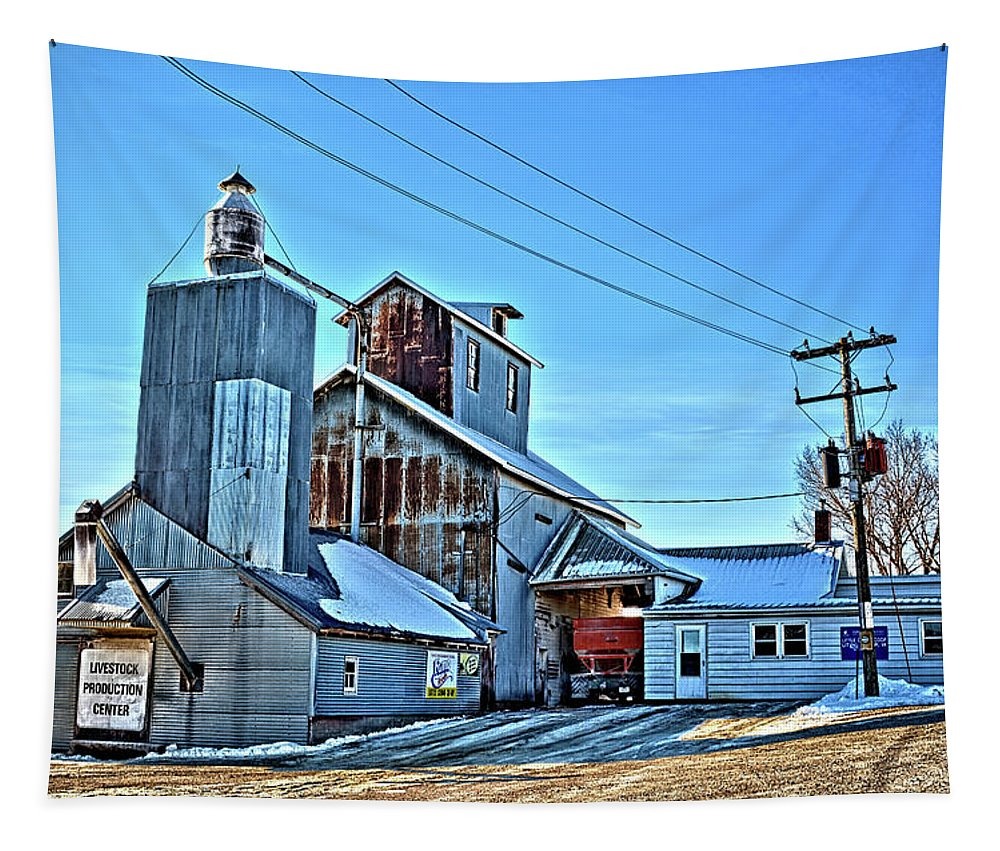 Elevator Tapestry featuring the photograph Little Cedar Co-op by Bonfire Photography