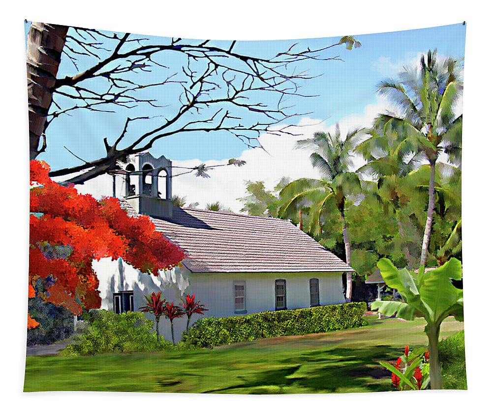 Hawaii Tapestry featuring the photograph Little Church At Puako Big Island by Kurt Van Wagner