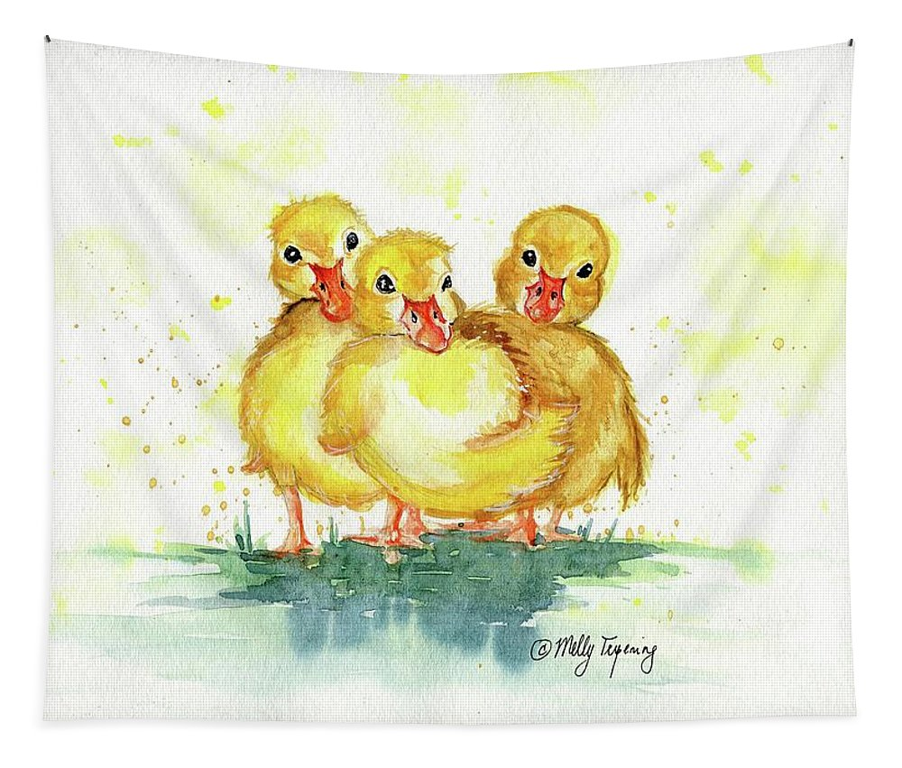 Little Duck Tapestry featuring the painting Little Ducks by Melly Terpening