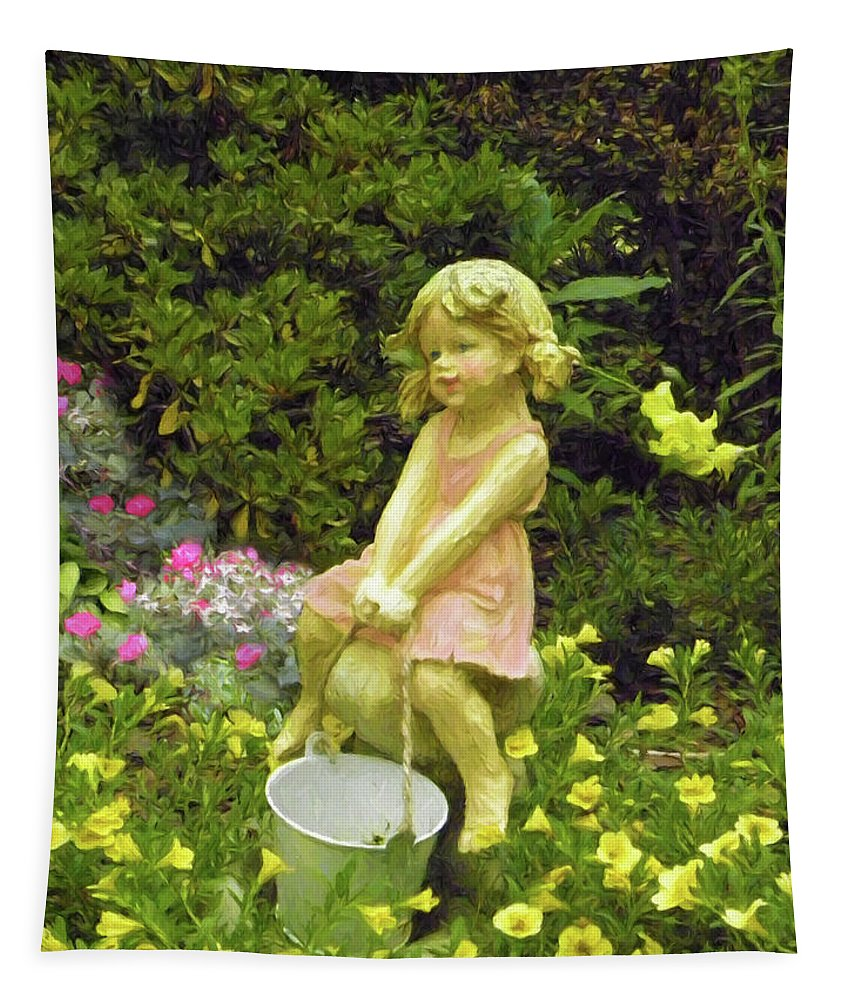 Little Girl With Pail Tapestry featuring the photograph Little Girl With Pail by Sandi OReilly