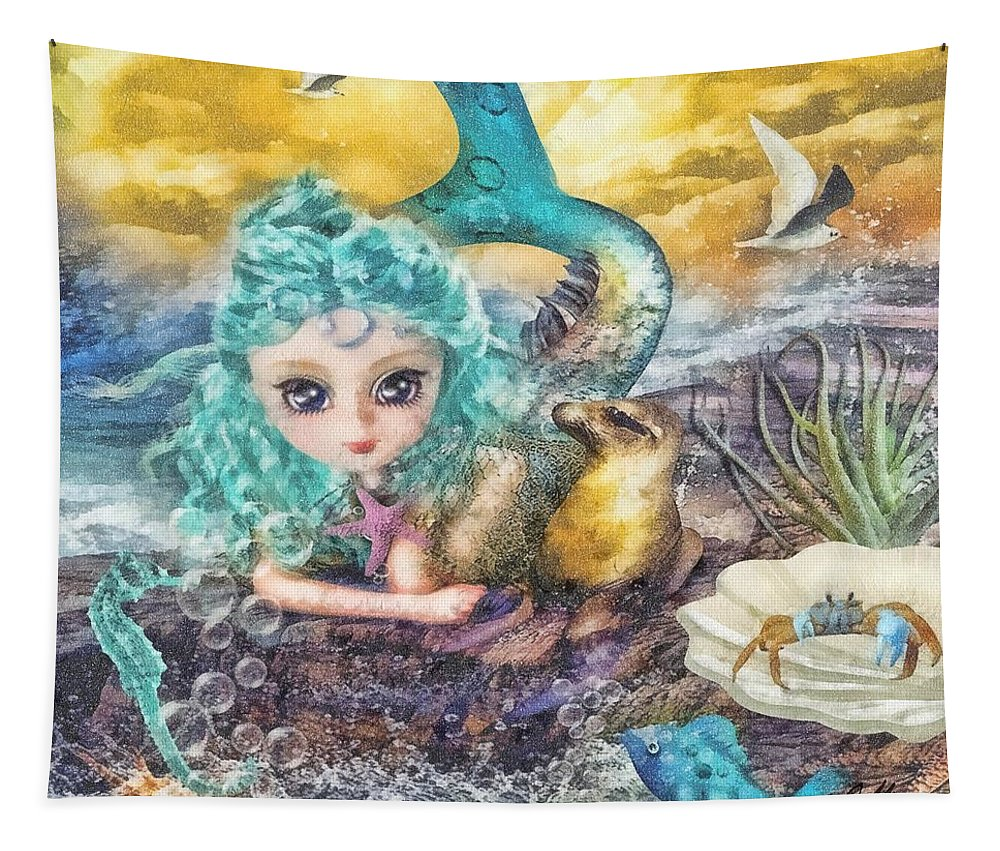 Little Mermaid Tapestry featuring the mixed media Little Mermaid by Mo T