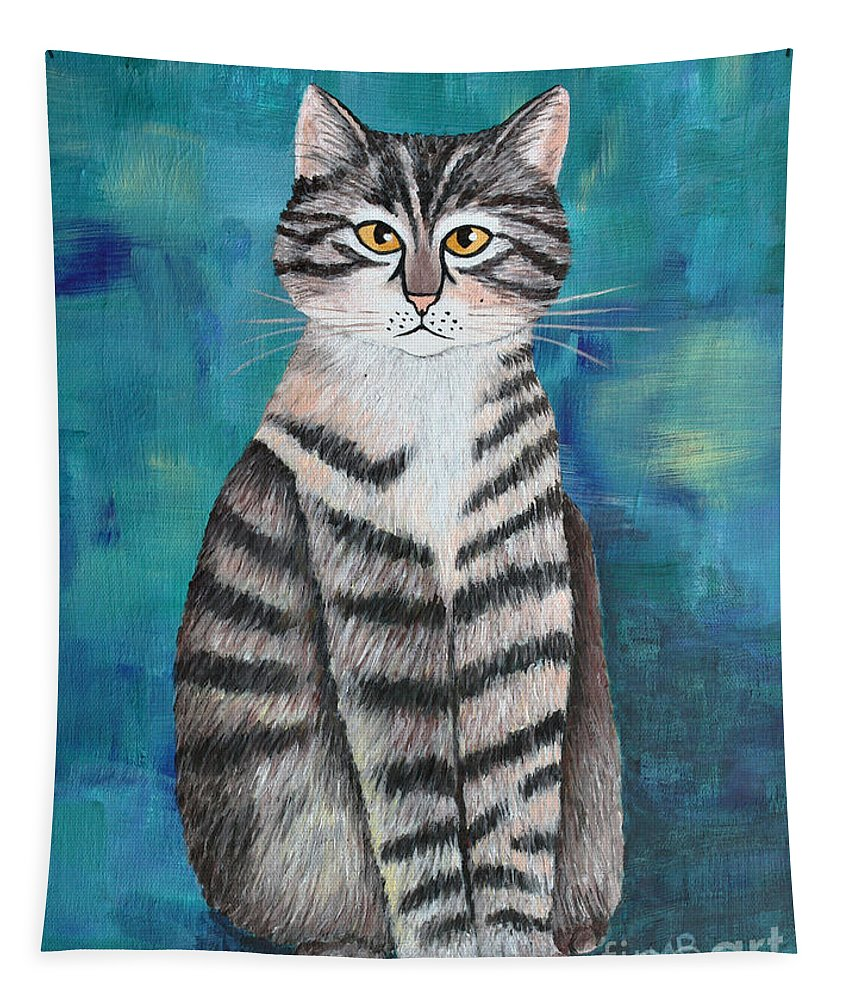 Acrylic Tapestry featuring the painting Little Tiger by Jutta Maria Pusl