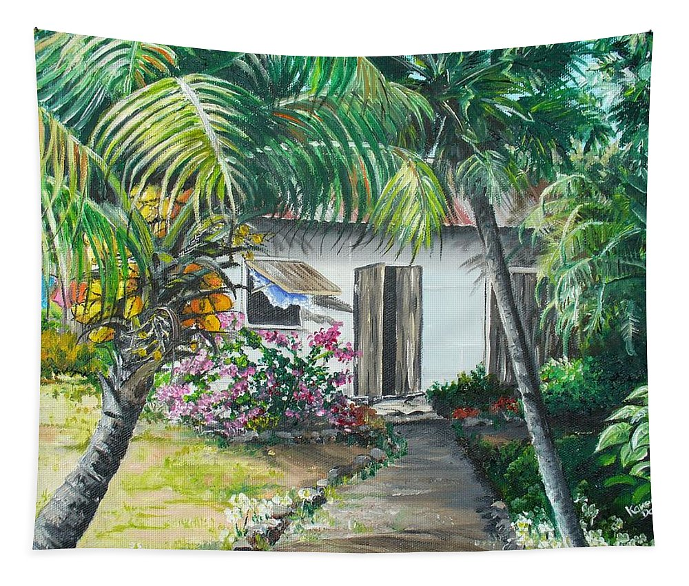 Caribbean Painting Typical Country House In Trinidad And The Islands With Coconut Tree Tropical Painting Tapestry featuring the painting Little West Indian House 2...sold by Karin Dawn Kelshall- Best