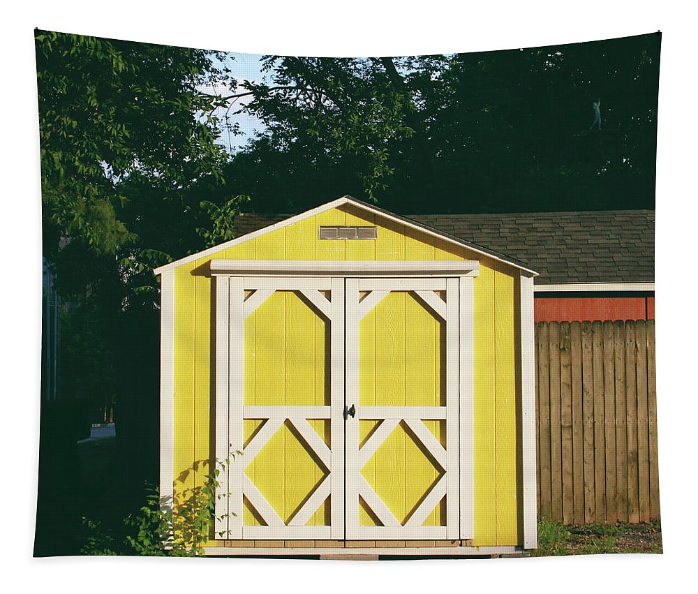 Barn Tapestry featuring the photograph Little Yellow Barn- By Linda Woods by Linda Woods