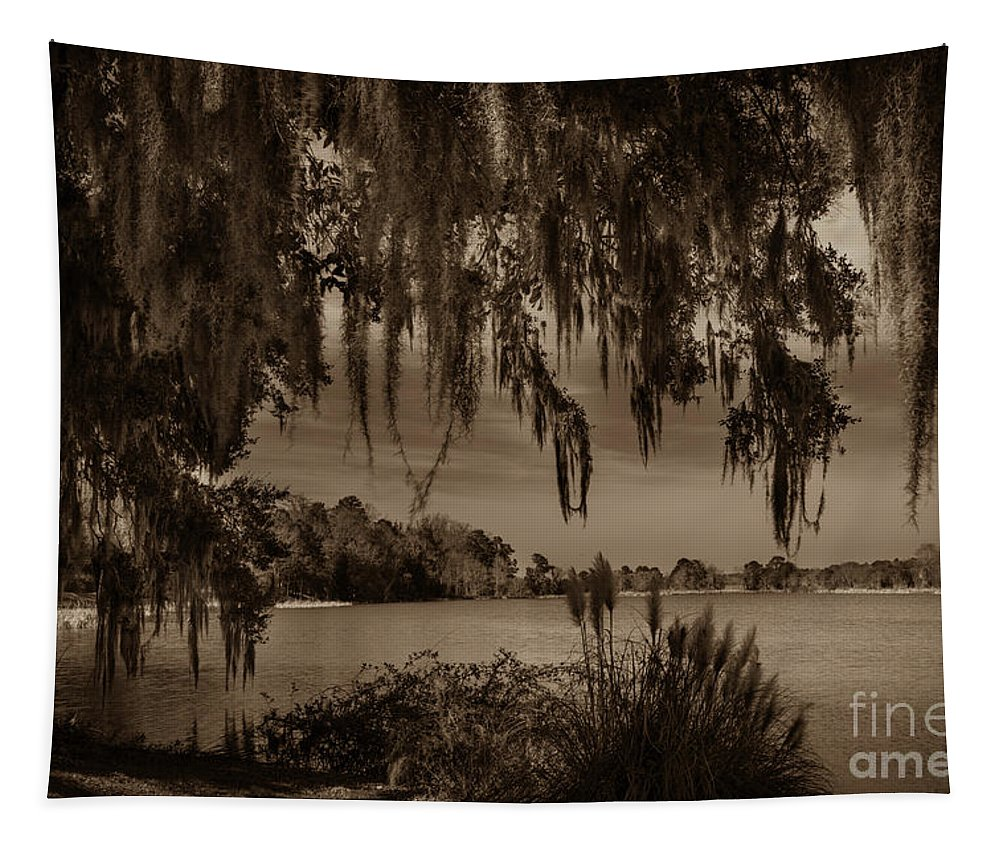 Middleton Tapestry featuring the photograph Live Oak Tree Spanigh Moss Sepia Silhouette by Dale Powell