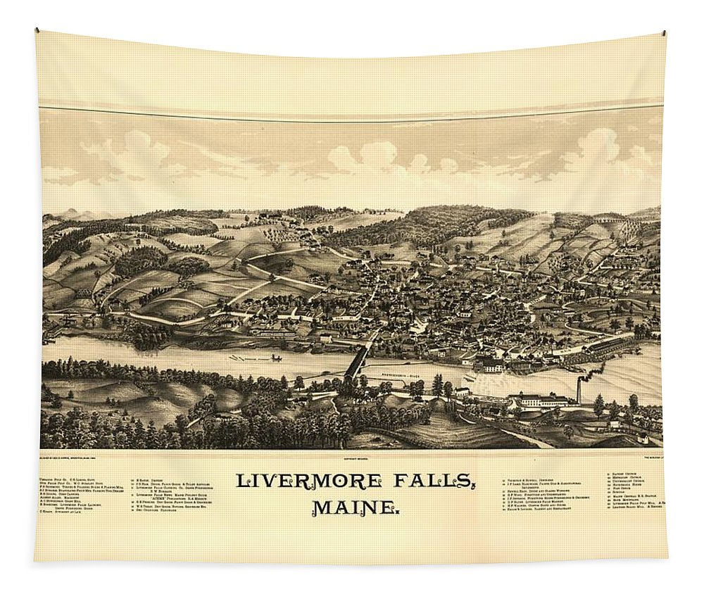 Map Tapestry featuring the mixed media Livermore Falls Maine by Mountain Dreams