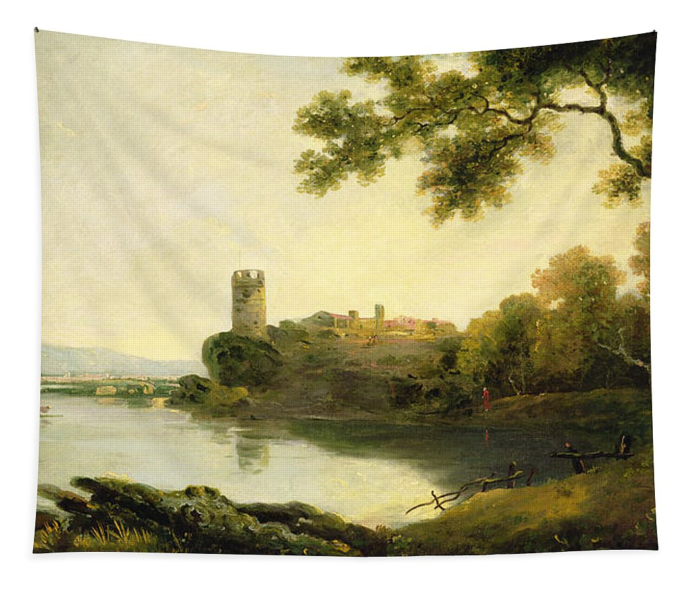 Llyn Peris And Dolbadarn Castle Tapestry featuring the painting Llyn Peris And Dolbadarn Castle, North Wales by Richard Wilson