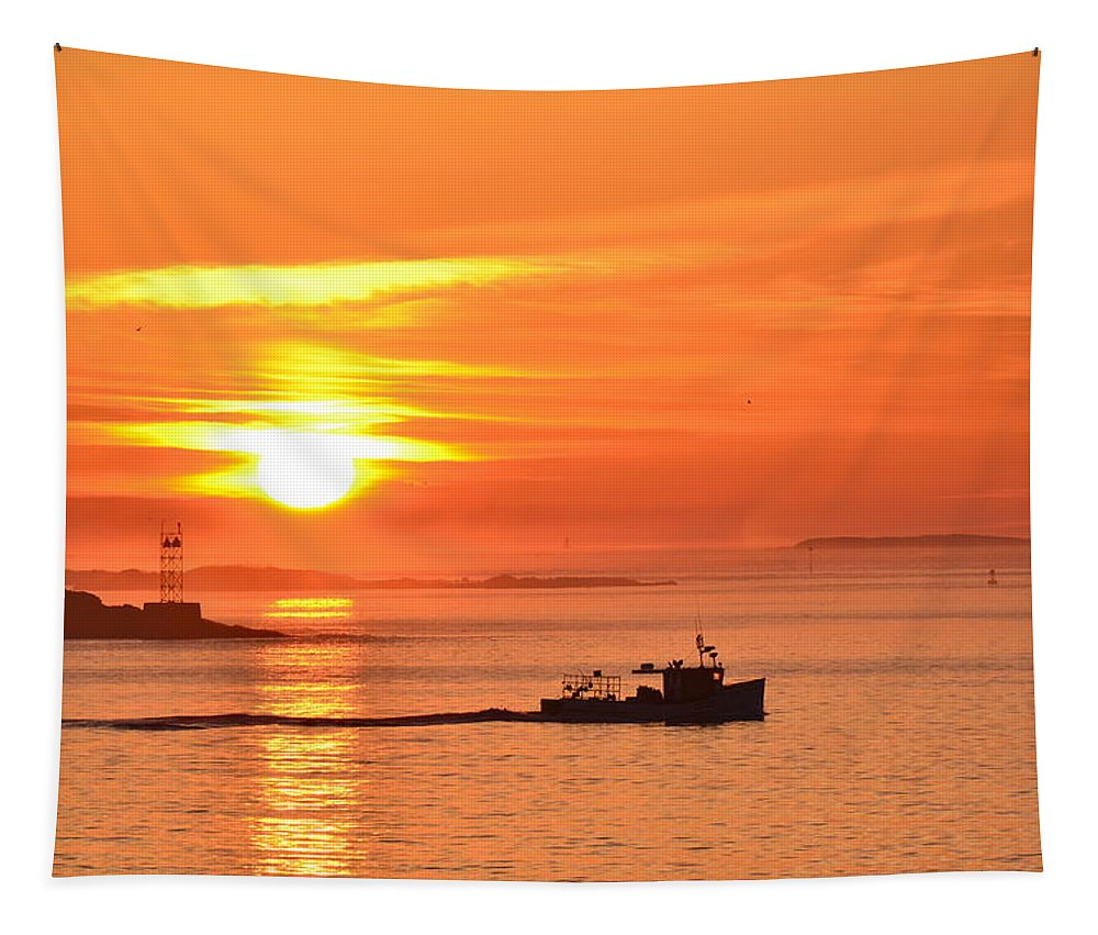 Lobster Boat Tapestry featuring the photograph Lobster Boat by Colleen Phaedra