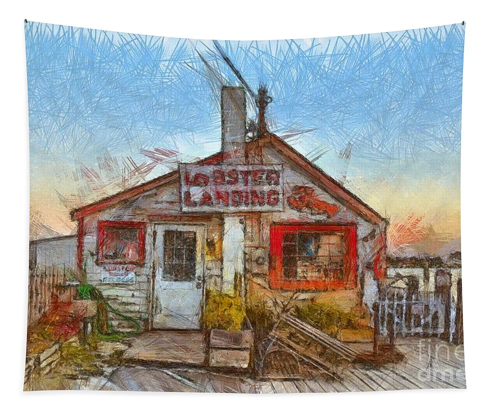 Lobster Tapestry featuring the drawing Lobster Shack Pencil by Edward Fielding
