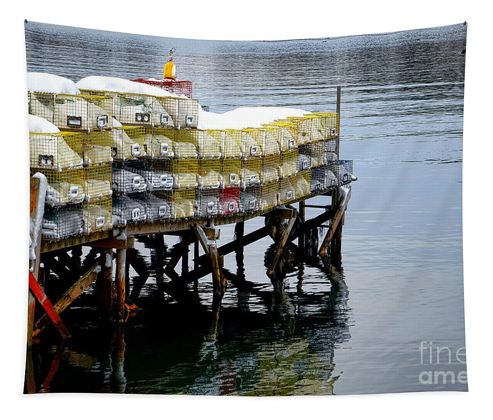 Maine Tapestry featuring the photograph Lobster Traps In Winter by Olivier Le Queinec