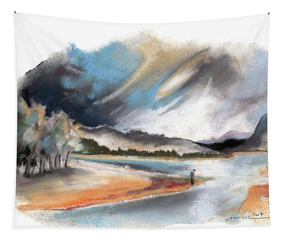 Travel Tapestry featuring the painting Loch Laggan 03 by Miki De Goodaboom