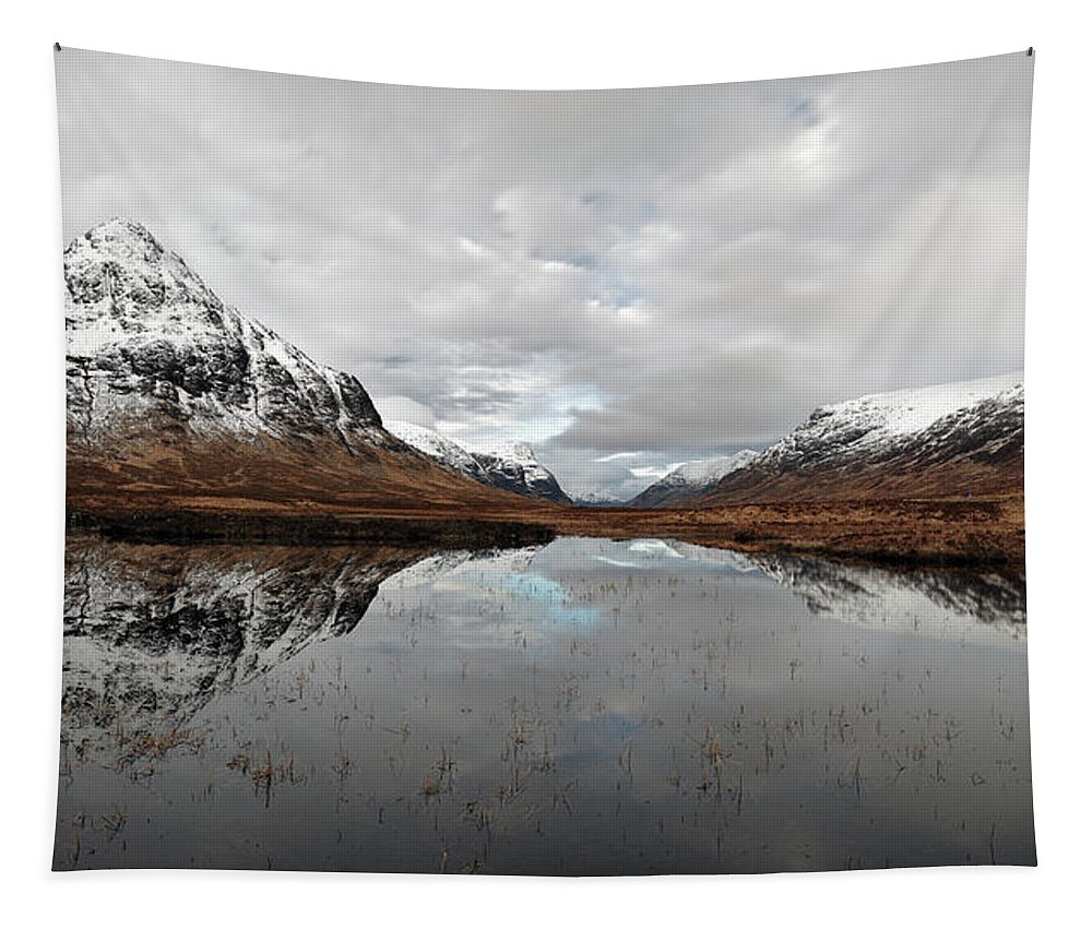 Lochan Na Fola Panorama Tapestry featuring the photograph Lochan Na Fola Panorama by Grant Glendinning