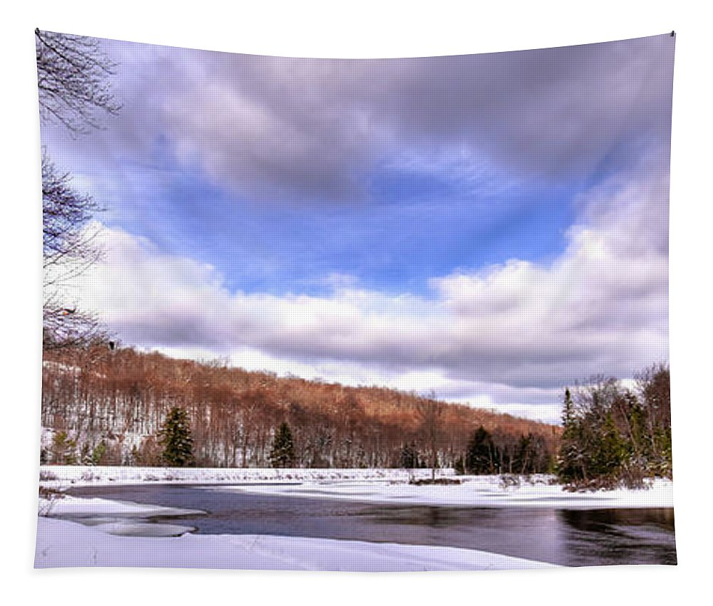 Landscapes Tapestry featuring the photograph Lock And Dam Snowscape by David Patterson