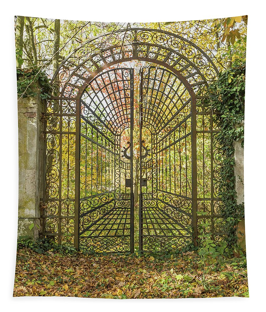 Gate Tapestry featuring the photograph Locked Iron Gate In The Autumn Park. by Jaroslav Frank