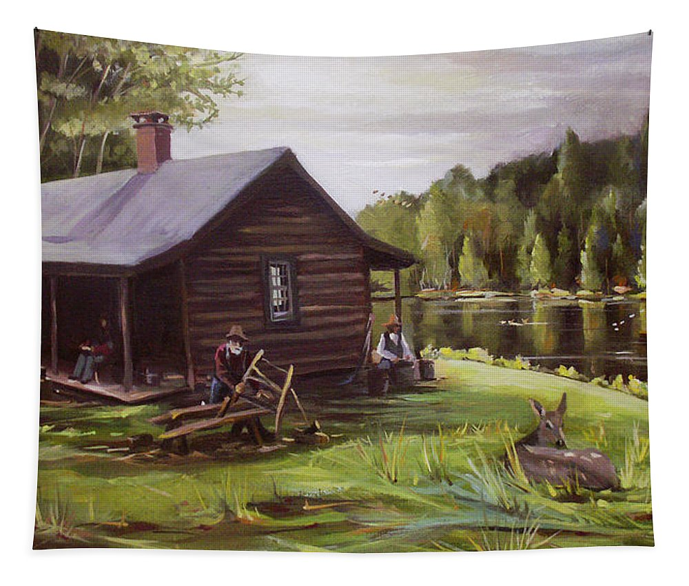 Log Cabin Tapestry featuring the painting Log Cabin By The Lake by Nancy Griswold