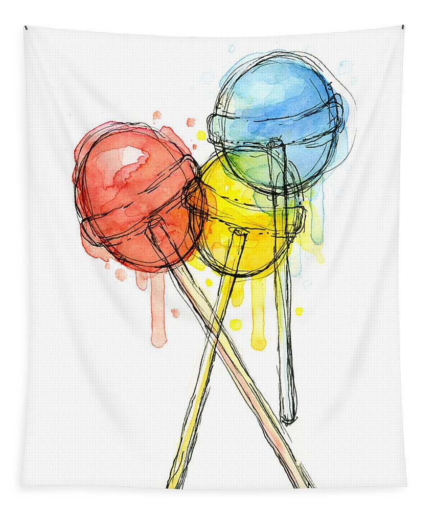 Lollipop Tapestry featuring the painting Lollipop Candy Watercolor by Olga Shvartsur