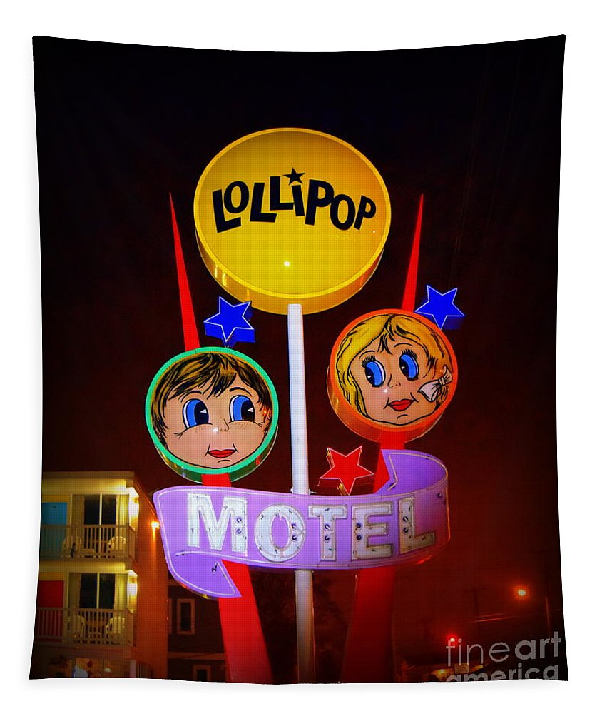 Wildwood Tapestry featuring the photograph Lollipop Motel by Betsy Warner