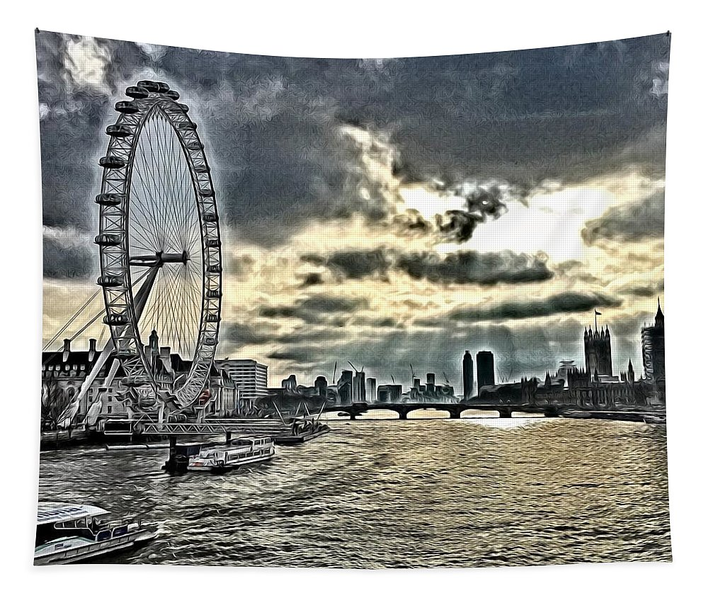 London Tapestry featuring the digital art London A View From A Bridge by Mo Barton