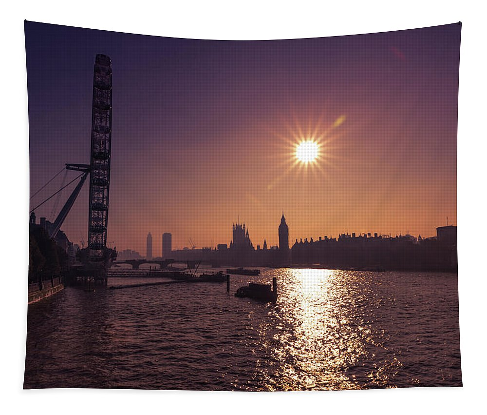 London Tapestry featuring the photograph London By Night By Day by Matt Malloy