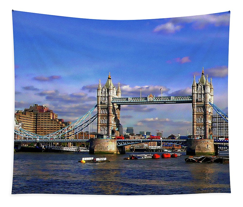 Architecture Tapestry featuring the photograph London Tower Bridge by Anthony Dezenzio