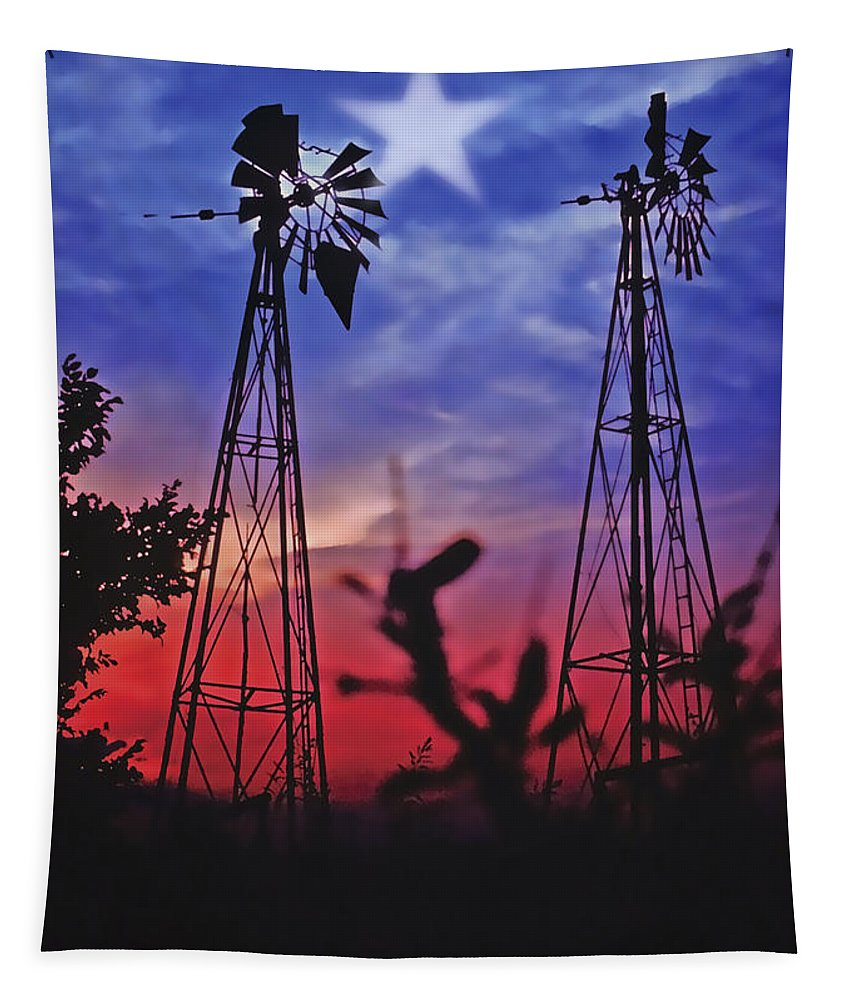 Sunset Tapestry featuring the photograph Lone Star Sunset by Stephen Anderson