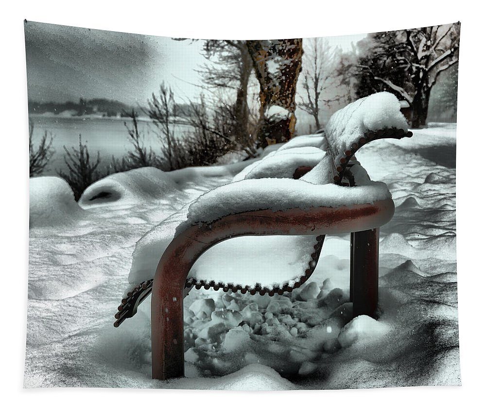 Park Tapestry featuring the photograph Lonely Bench In Snowfall by Jeff Swan