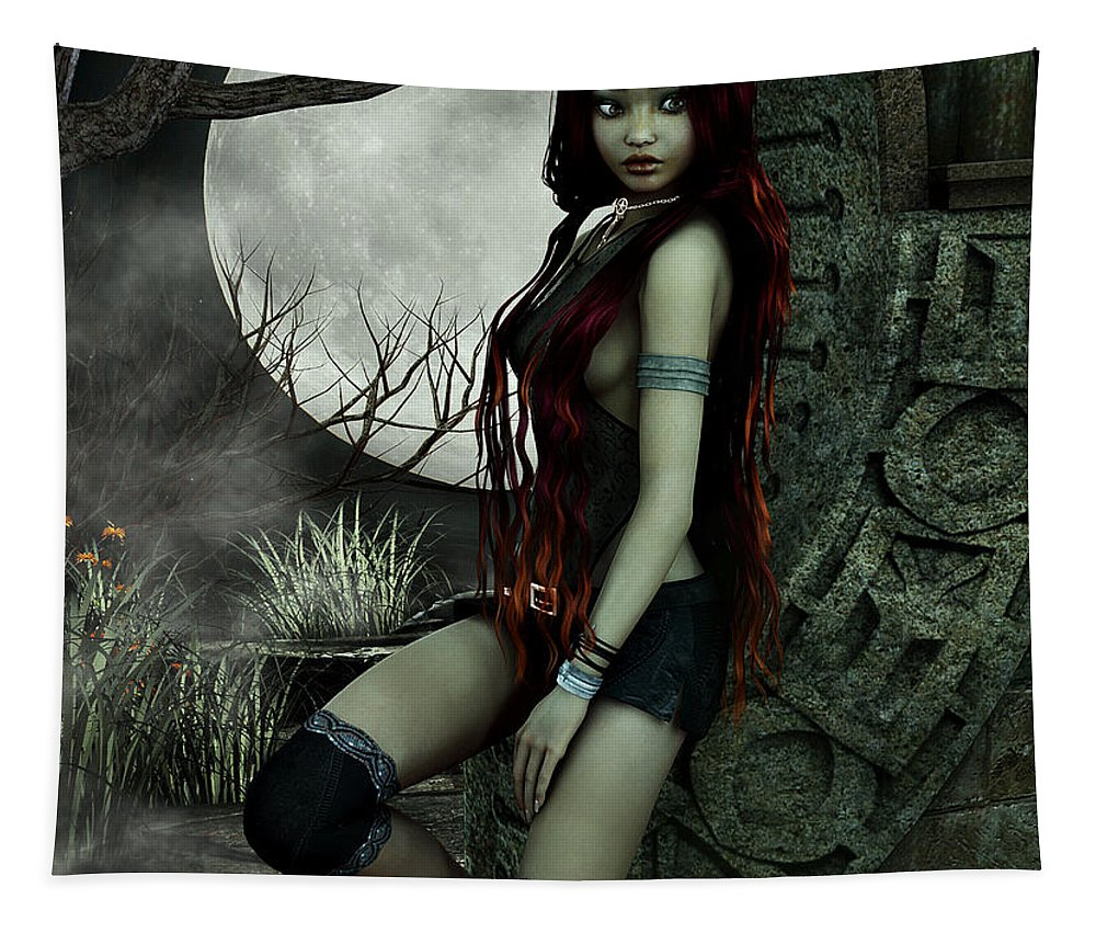 3d Tapestry featuring the digital art Lonesome Night by Jutta Maria Pusl