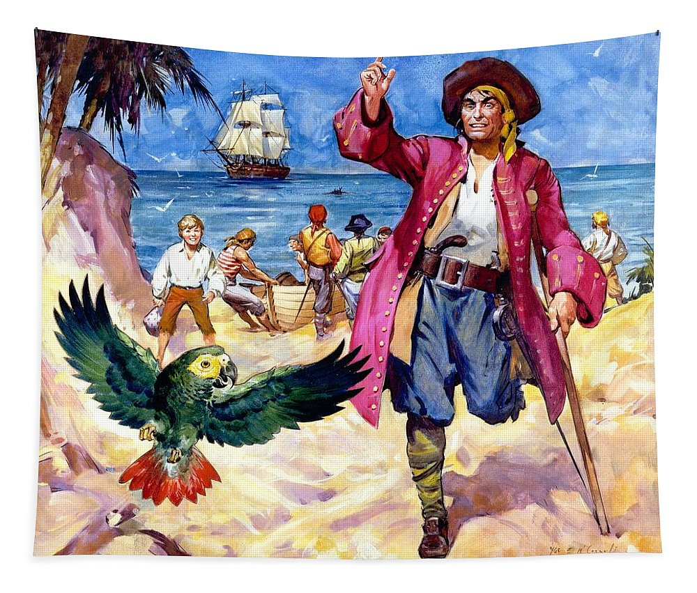 Long Tapestry featuring the painting Long John Silver And His Parrot by James McConnell