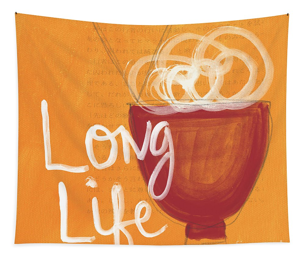 Life Tapestry featuring the painting Long Life Noodle Bowl by Linda Woods