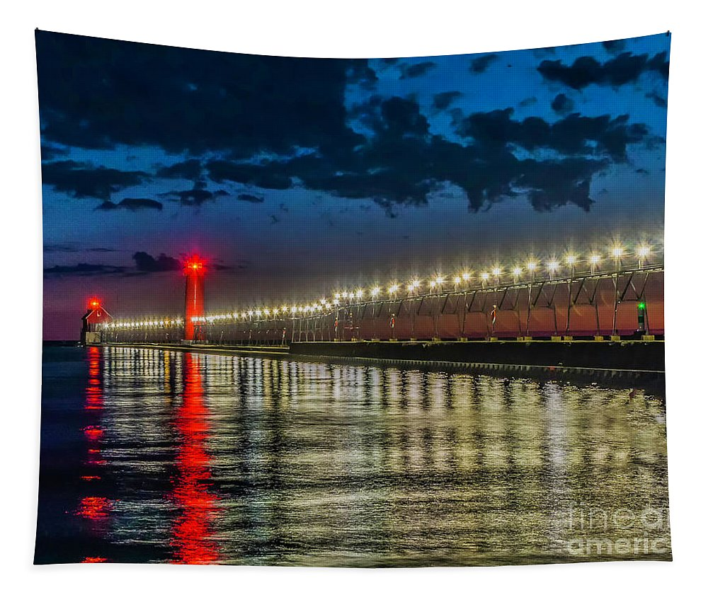 Great Lakes Tapestry featuring the photograph Long Lights At Grand Haven Pier by Nick Zelinsky