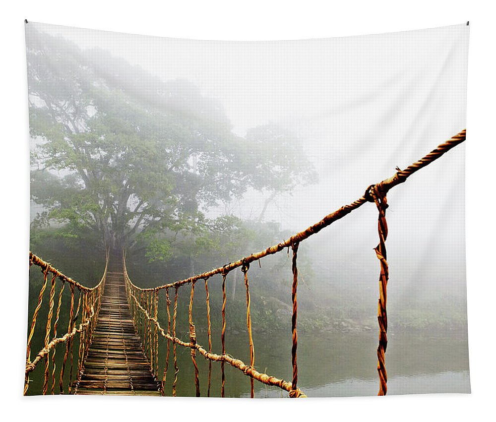 Jungle Journey Bridge Tapestry featuring the photograph Long Rope Bridge by Skip Nall