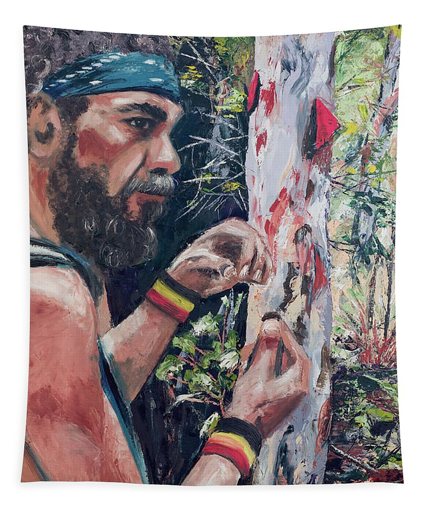 Aboriginal Tapestry featuring the painting Look Into Another Dimension by Beatrix S Zygartowski
