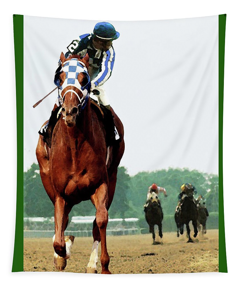 1 1/2 Mile Tapestry featuring the painting Looking Back, 1 1/2 Mile Belmont Stakes Secretariat 06/09/73 Time 2 24 - Painting by Thomas Pollart